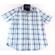 Club Room NEW Blue White Mens Size LT Button-Front Plaid Printed Shirt