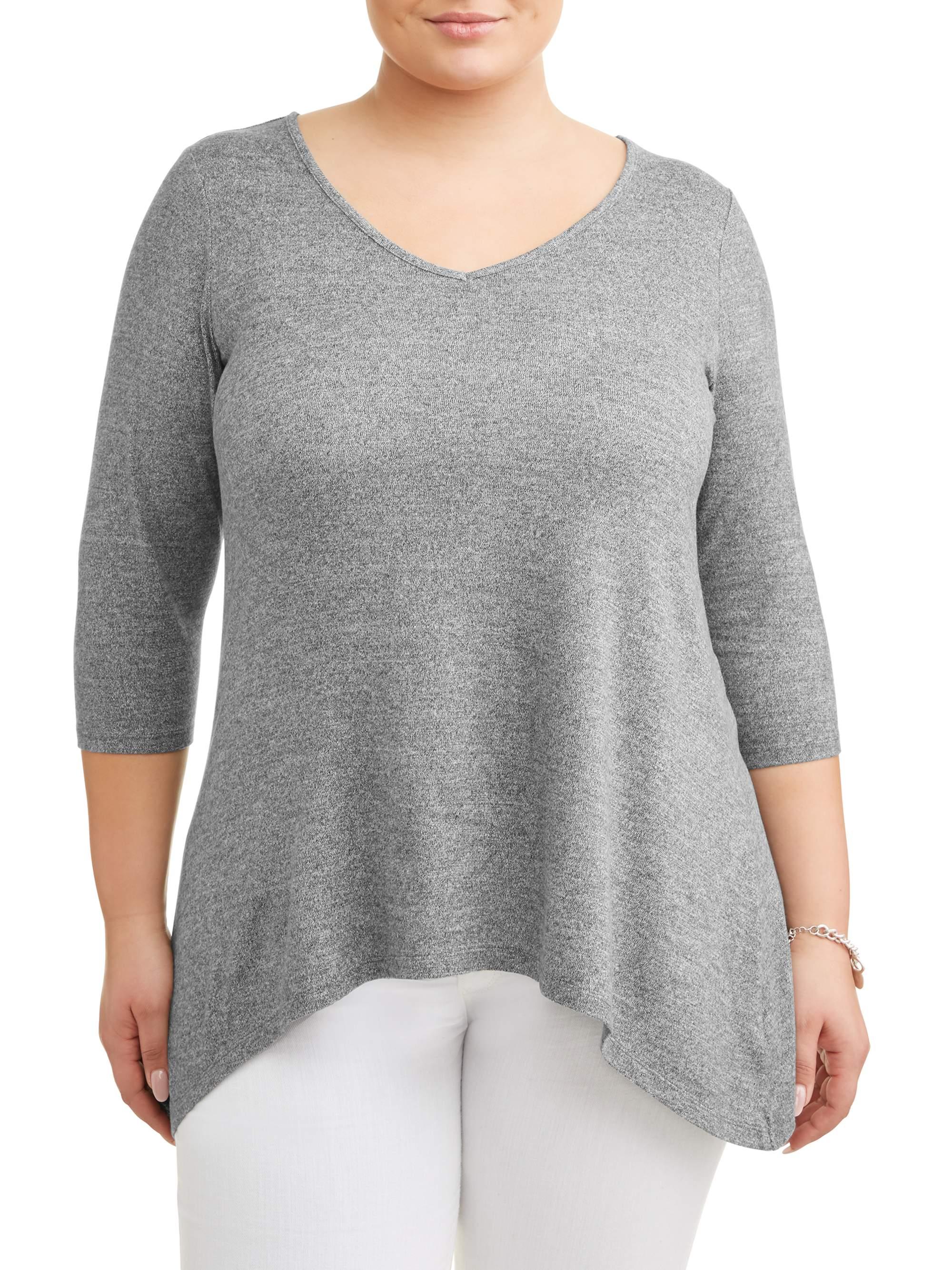 Women's Plus Size Soft Hacci Sharkbite Lattice Top