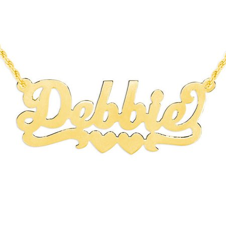 - Personalized Name Necklace with Double Hearts in Sterling Silver and 24K Gold Plated Sterling Silver