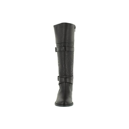 easy street  women's kelsa plus tall wide calf boot (black/embossed) (Smx Plus Vented Racing Boots)