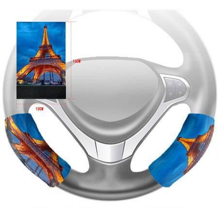 YKCG Closeup View Romantic City France Paris Tower Steering Wheel Cover Hook and Loop Covers Size 10x16cm Set of 2 - Paris City Size