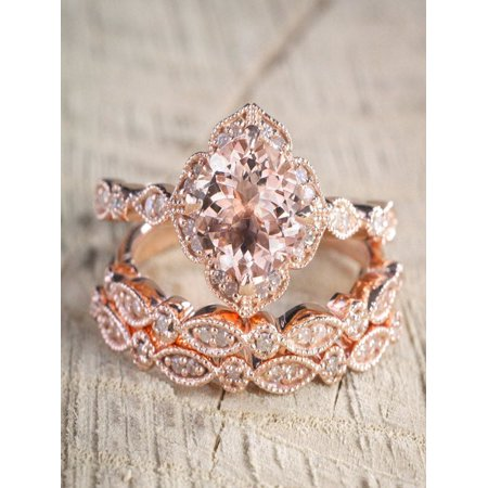 2.25 carat Morganite Diamond Trio Wedding Bridal Ring Set in 10k Rose Gold with Engagement Ring & 2 Wedding Bands