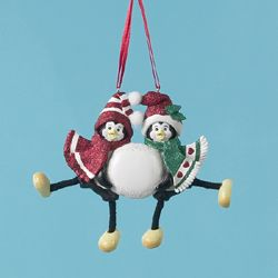"""Club Pack of 12 Penguin Couple Christmas Ornaments for Personalization 4.25"""""""