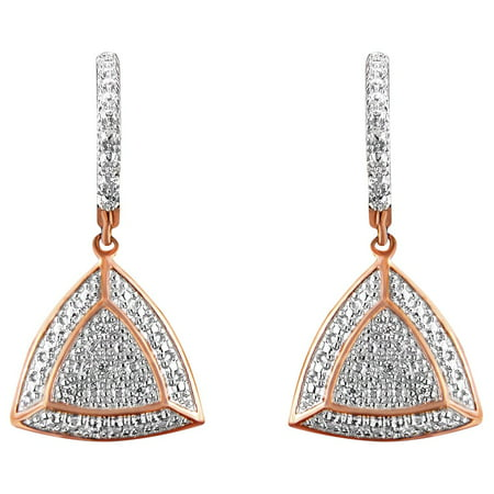 Rose Gold Plated Sterling Silver 0.03ct TDW Diamond Accent Triangle Dangle Earrings (H-I,I2)