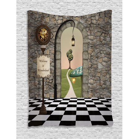 Alice in Wonderland Tapestry, Welcome Wonderland Black and White Floor Landscape Mushroom Lantern, Wall Hanging for Bedroom Living Room Dorm Decor, Multicolor, by Ambesonne - Alice In Wonderland Decor
