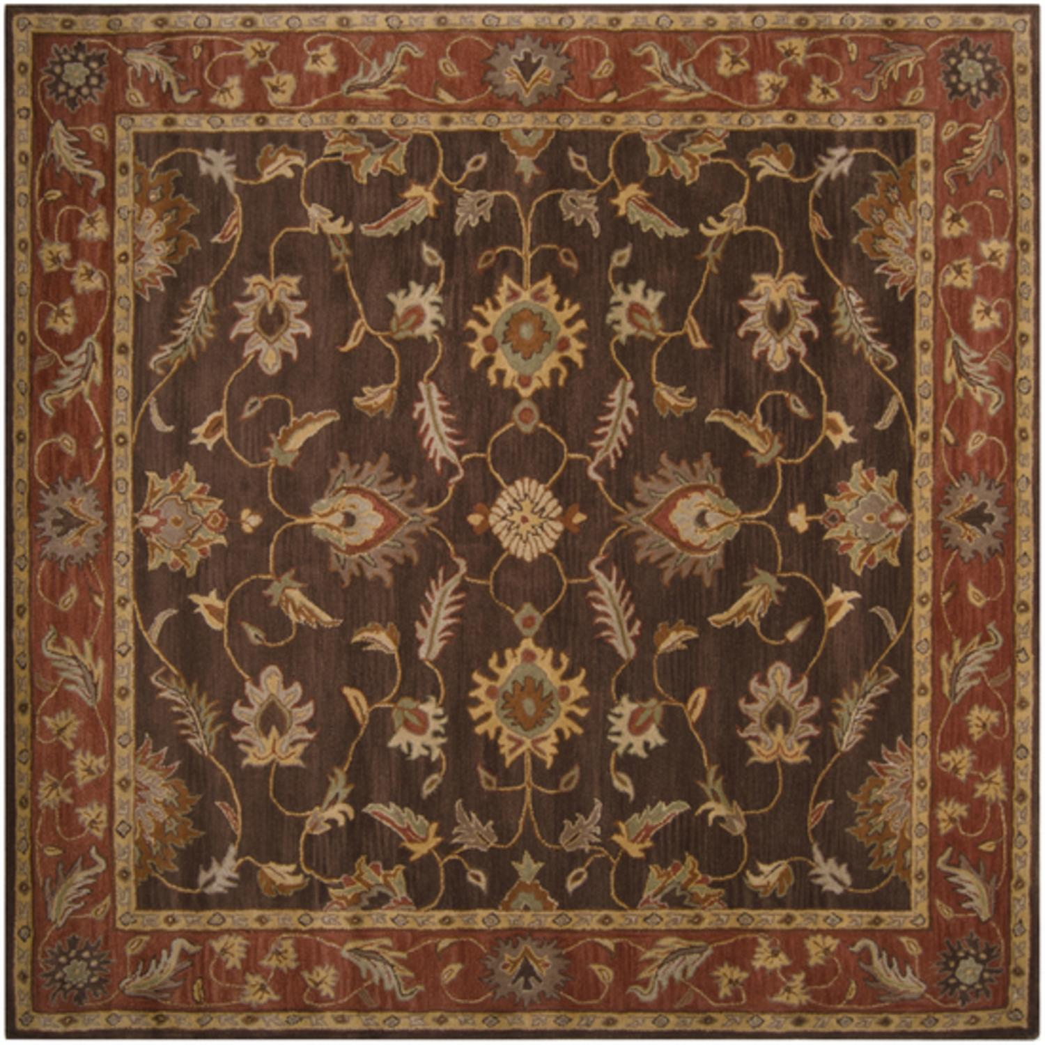 9.75' x 9.75' Anethancian Driftwood Brown & Red Clay Hand Tufted Wool Area Rug