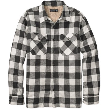 Faded glory men 39 s sherpa lined shirt jacket for Fleece lined flannel shirt