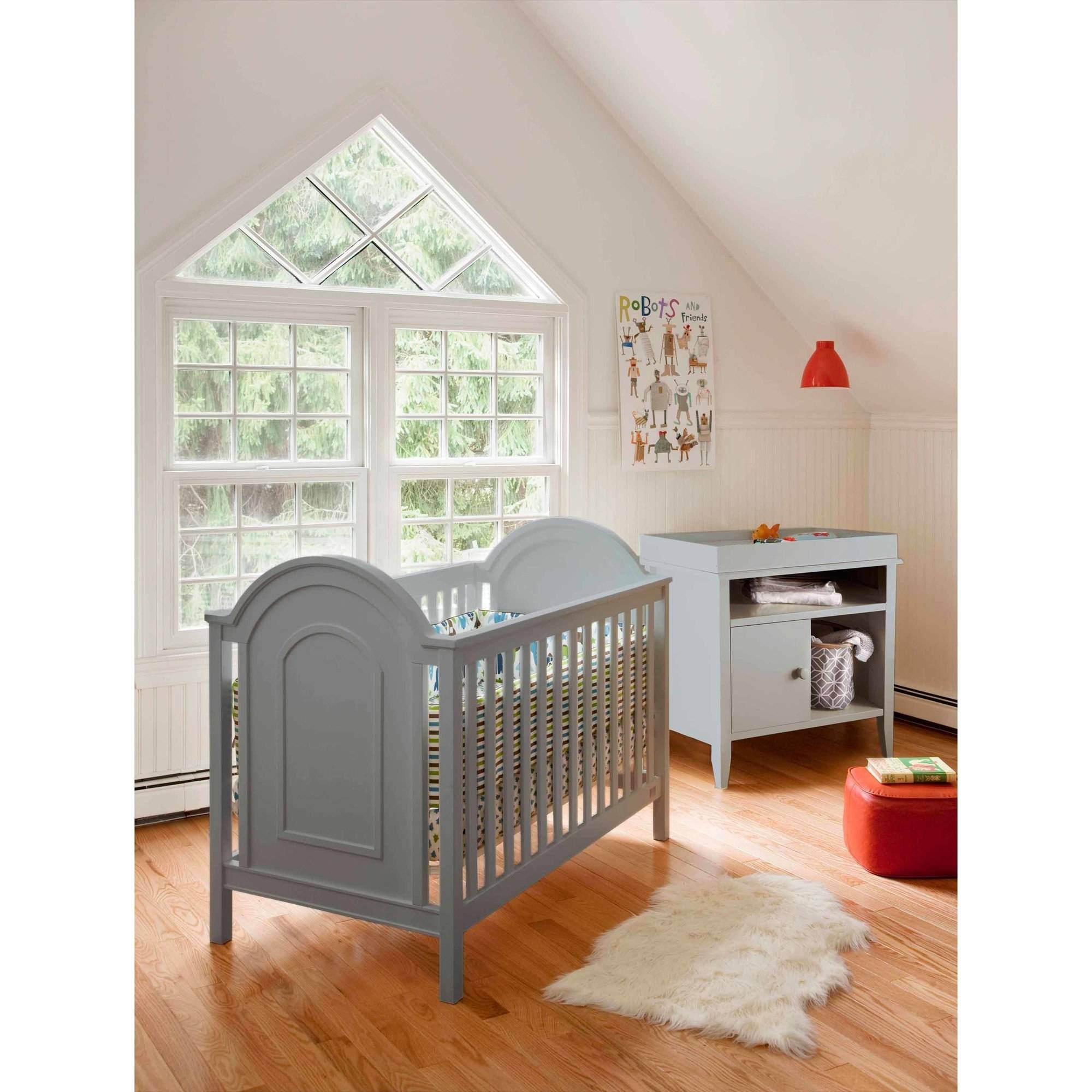 Lolly and Me Ellery 4-in-1 Fixed Side Convertible Crib, Grey
