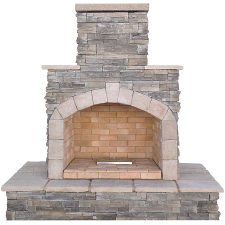Gray Cultured Stone Propane Gas Outdoor Fireplace