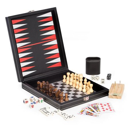 One Game Set (Bey-Berk International G552 Black Leatherette 5 in 1 Game Set )