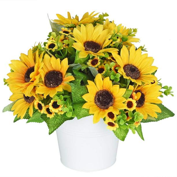 Sunflower Bouquet 4 Bunches Silk Sunflowers Fake Yellow Flowers For Home Decoration Wedding Decor 4 Pack Walmart Com Walmart Com