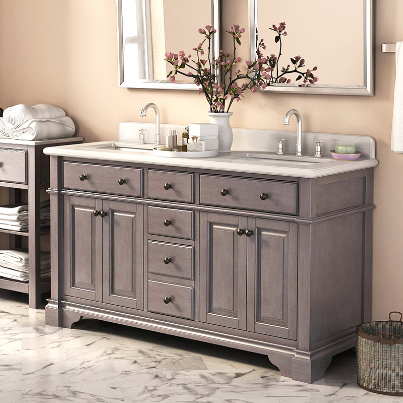 Lanza Casanova WF6956 60 60 In. Double Bathroom Vanity Set
