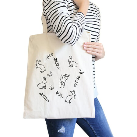 Black And White Wedding Ideas (Rabbit Pattern Natural Canvas Bags Cute Bunny Ester Gift)