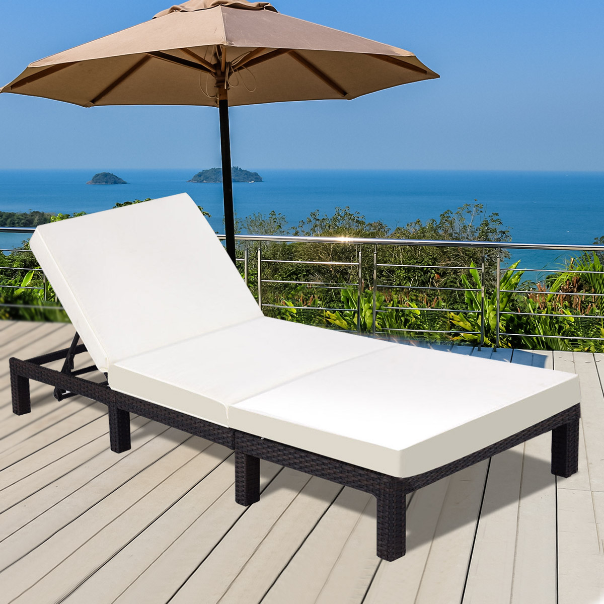 Gymax Adjustable Chaise Lounge Poolside Couch  Patio Wicker Furniture Set with Cushion Outdoor