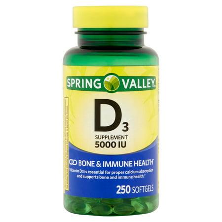 Spring Valley supplément de vitamine D3 Gélules, 5000 UI, 250 count