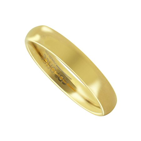 Gem Avenue Stainless Steel Gold Plated Plain 4mm Wedding Band Comfort Fit
