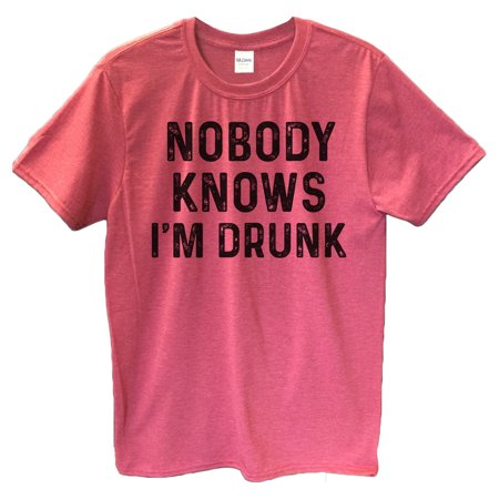 "19aeaeb5b Funny Threadz - Funny Drinking Mens T-shirt ""Nobody Knows I'm Drunk"" Great  Funny Party T Shirt Large, Heather Red - Walmart.com"