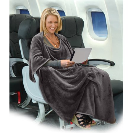 Napa 4-in-1 Multi-Purpose Travel Blanket Micro Mink Fleece Wearable Poncho with Built-in Bag Easy to Fold Great for Airplane/Car/Train 40