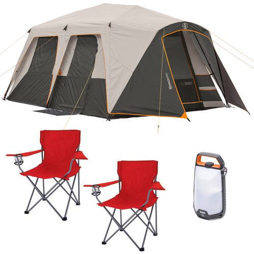 Bushnell Shield Series 9-Person Instant Cabin Tent with 2 Folding Chairs and Lantern Bundle