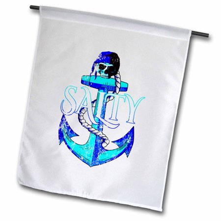 3dRose Salty nautical ship anchor and pirate skull in bright coastal colors. - Garden Flag, 18 by 27-inch