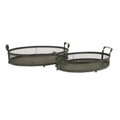 Set of 2 Contemporary Gray Decorative Stackable Serving Trays