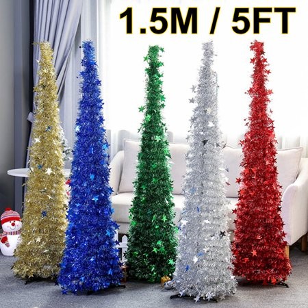 Asewan 1.5M 5FT Collapsible Tinsel Up Christmas Xmas Tree with Stand Home Party Indoor Outdoor Decor Easy Assemble ()