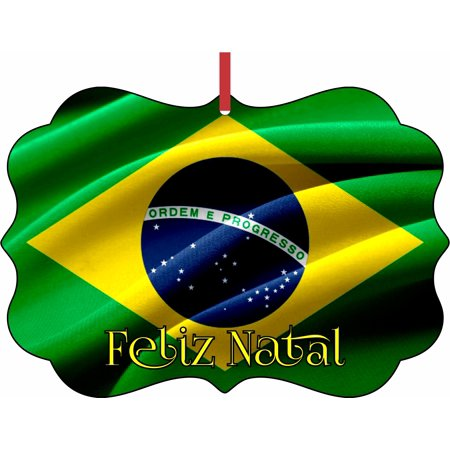 Flag of Brazil Feliz Natal Elegant Aluminum SemiGloss Christmas Ornament Tree Decoration - Unique Modern Novelty Tree Décor Favors - Brazil Decorations