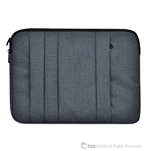 "TopCase 3-ZIP Gray Nylon Lycra Fabric Carrying Sleeve Bag Briefcase for all 13"" 13-Inch Apple Macbook White, Air and Pro with/without Retina Display / Ultrabooks / Chromebooks"