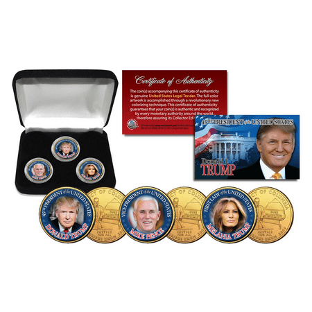 Donald Trump   Melania   Mike Pence 3 Coin Set Colorized 24K Gold Plated W  Box