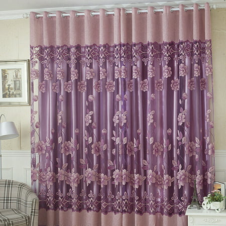 NK Home 1 PCS Luxury Floral Tulle Door Window Curtain Drape Panel Sheer Scarf Valances Divider Room Decorative ( L: 2.5 M x W: 1M) 98.5'' x 39.4''  Purple Pink - Pink And Purple Room Ideas