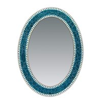 DecorShore 32.5 in. x 24.5 in. Decorative Wall Mirror, Oval Frame, Colorful Crackled Glass Mosaic Decorative Wall Mirror, Vanity Mirror, Powder Room Mirror in Jewel Tone Colors (Turquoise)