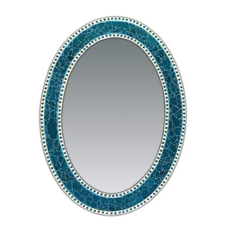 DecorShore 32.5 in. x 24.5 in. Decorative Wall Mirror, Oval Frame, Colorful Crackled Glass Mosaic Decorative Wall Mirror, Vanity Mirror, Powder Room Mirror in Jewel Tone Colors (Turquoise) ()