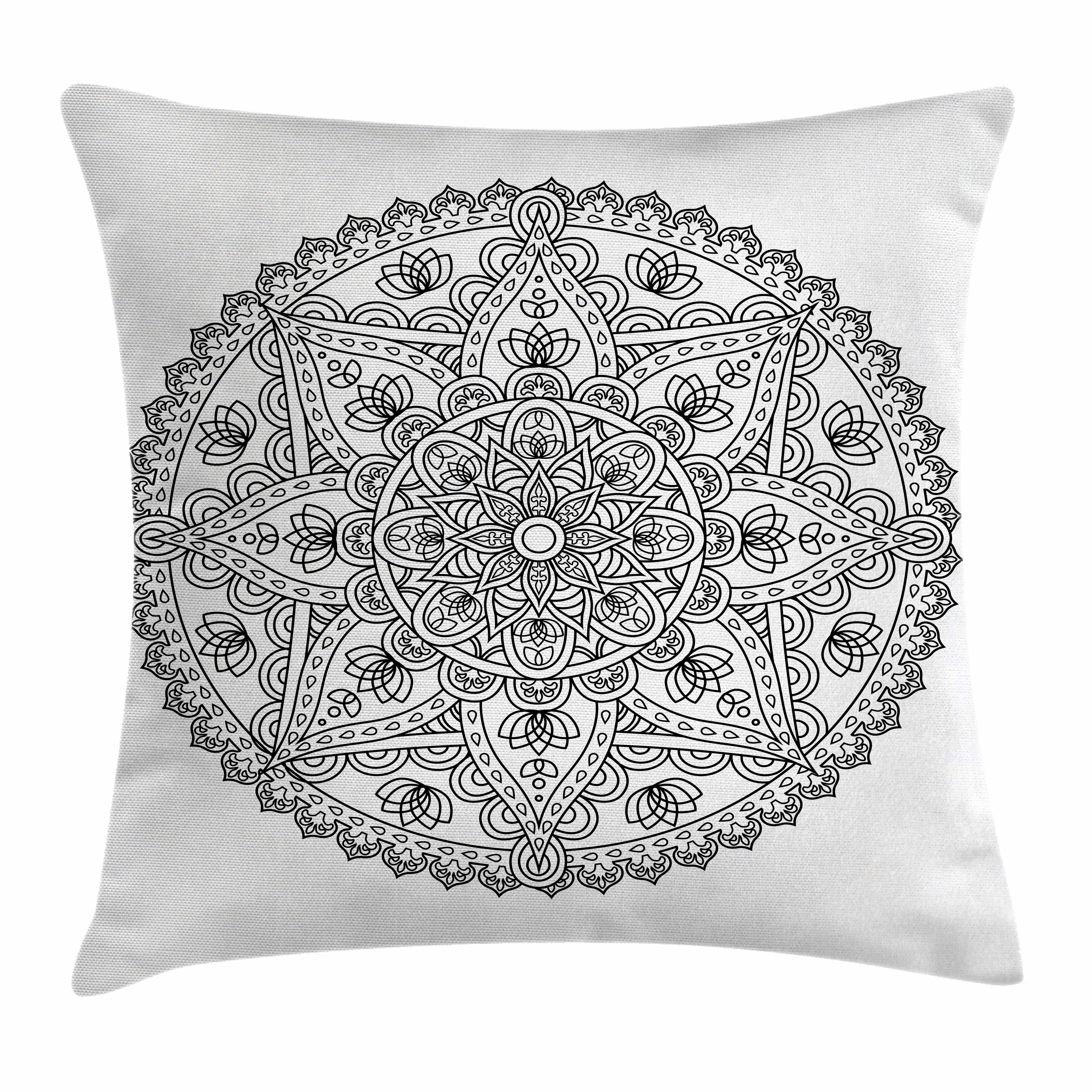 Lotus Throw Pillow Cushion Cover, Oriental Mandala Pattern Flower Petal Effect Islamic Style Monochrome Boho Design, Decorative Square Accent Pillow Case, 16 X 16 Inches, Grey White, by Ambesonne
