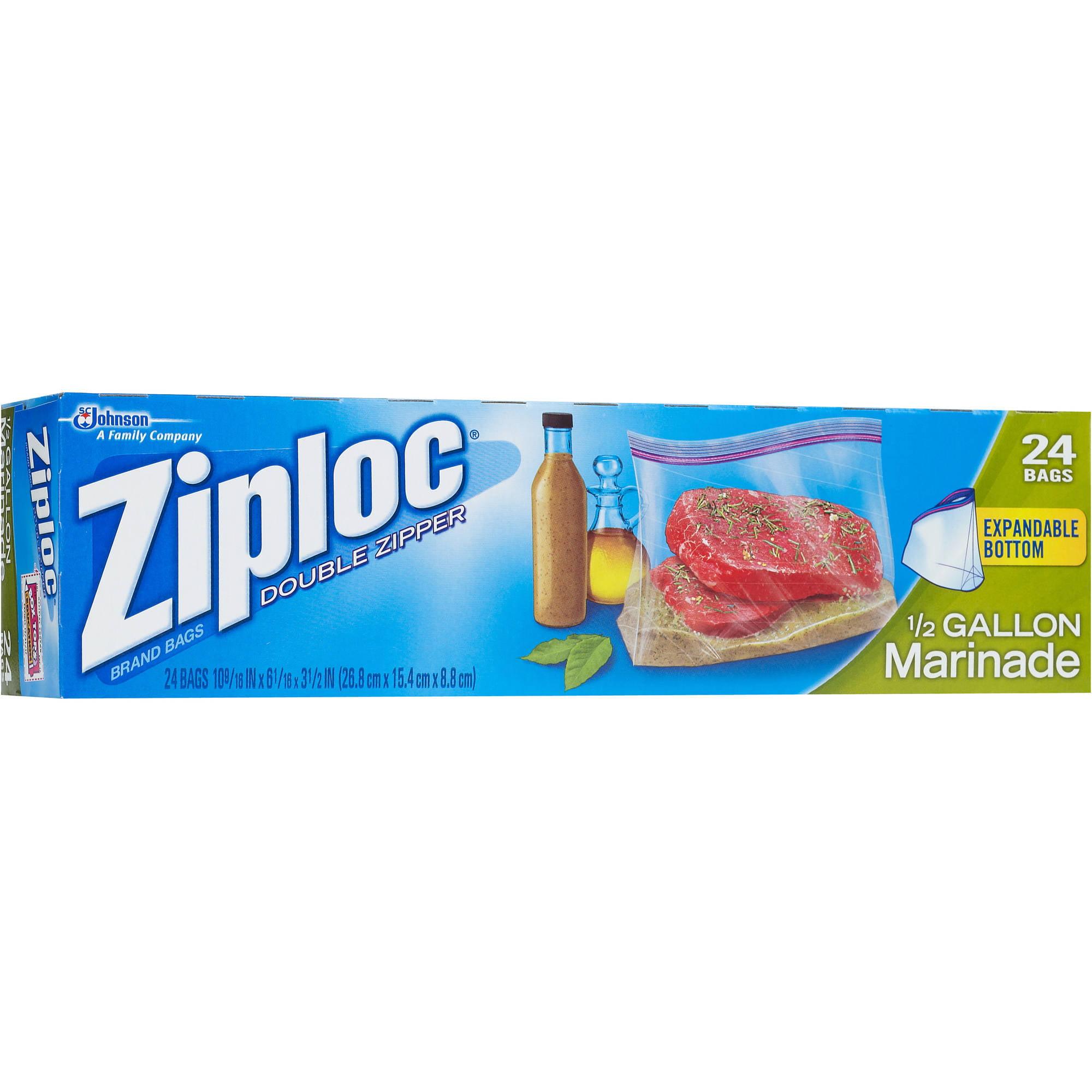 Ziploc Pinch Seal Marinade Bags Half Gallon 24 Count Walmart Com