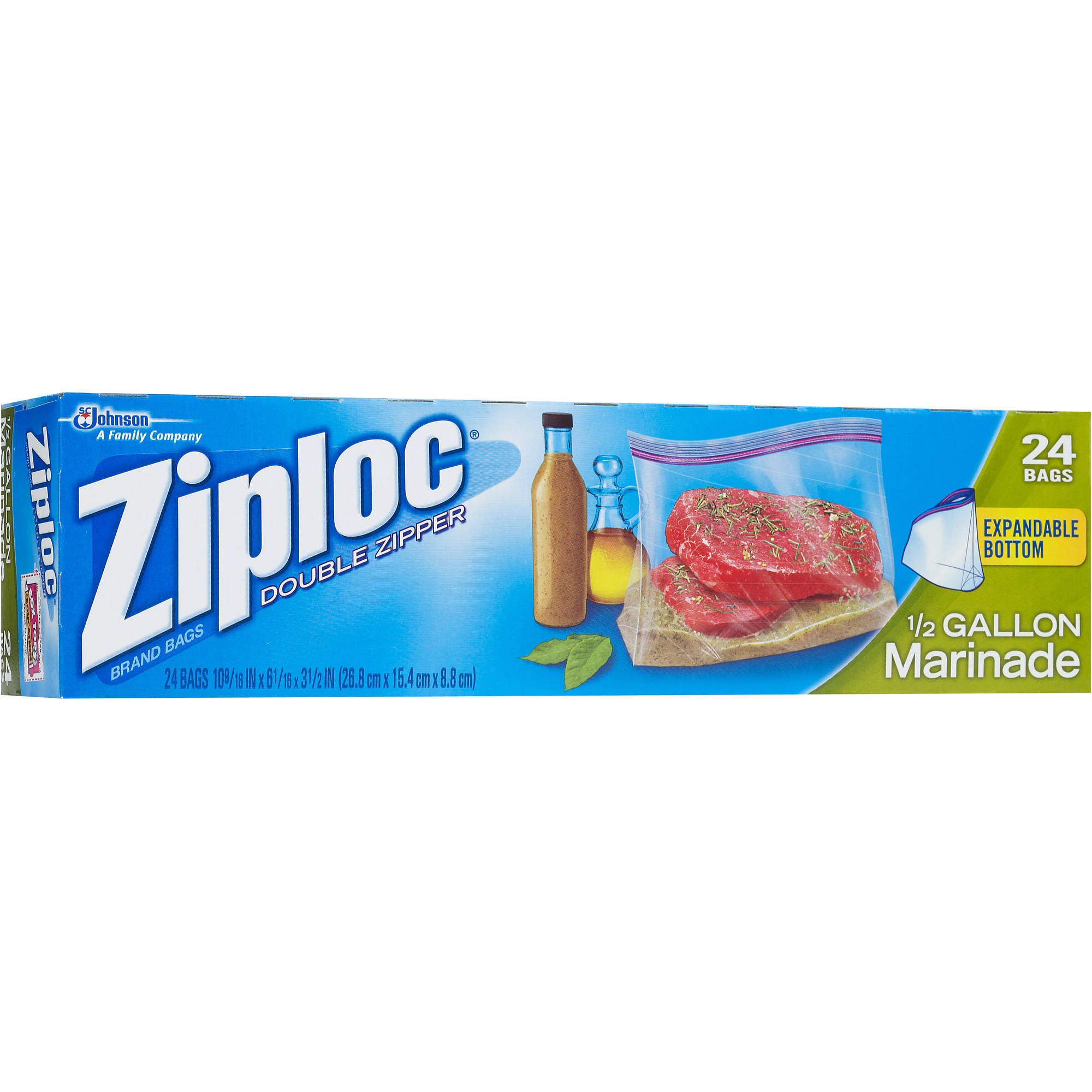 Ziploc All Purpose Marinade Bags, 1/2 Gallon, 24 Ct