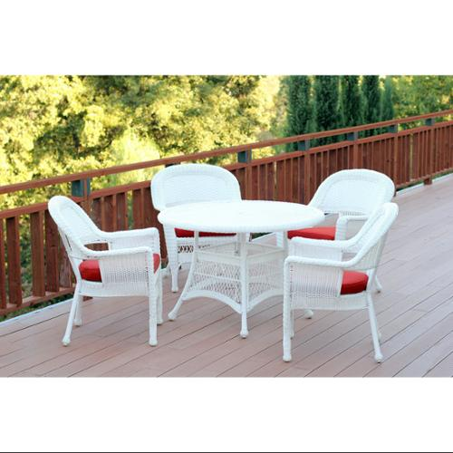 5-Piece White Resin Wicker Chair & Table Patio Dining Furniture Set Red Cushions by Resin Furniture