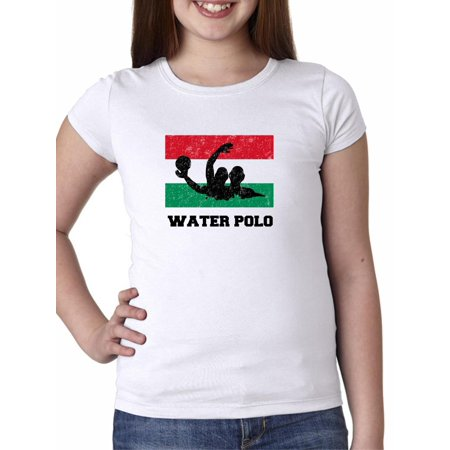 Hungarian Water - Hungary Olympic - Water Polo - Flag - Silhouette Girl's Cotton Youth T-Shirt