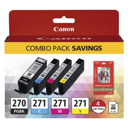 Canon 0373C005 (PGI-270; CLI-271) Inks & Paper Pack, 50 Sheets, 4 x (Canon Pgi 225 Black Twin Pack Ink Cartridge)