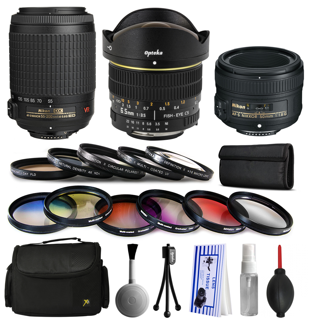 Nikon VR 55-200mm Lens + 50mm f/1.8G + 6.5mm f/3.5 Fisheye Lens Bundle Package + Filters & Accessories for Nikon DF D7200 D7100 D7000 D5500 D5300 D5200 D5100 D5000 D3300 D3200 D3100 D3000 D300S D90
