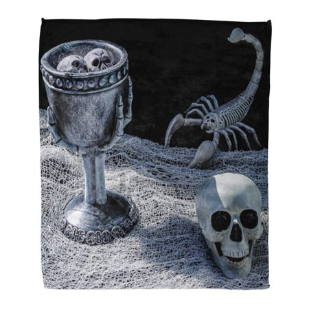 ASHLEIGH Throw Blanket Warm Cozy Print Flannel Spooky Scorpion and Skull Table Two Curious Floating in Witch Potion Comfortable Soft for Bed Sofa and Couch 50x60 Inches](Floating Witch)