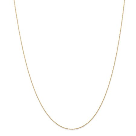 14k Yellow Gold Carded Cable Rope Chain Necklace - .6 Grams - 24 Inch - 0.5mm - Spring Ring