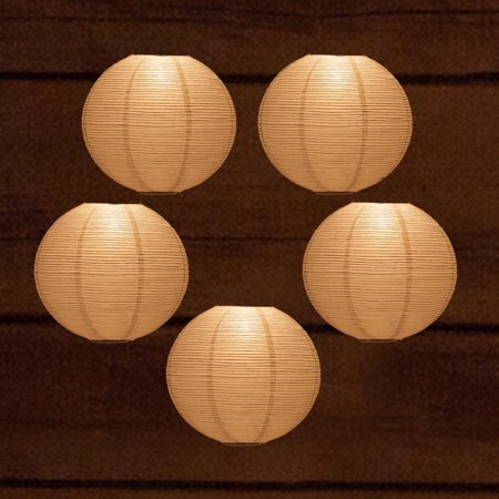 Quasimoon 5 Pack 12 White Fine Line Premium Even Ribbing Paper Lantern Extra Sy