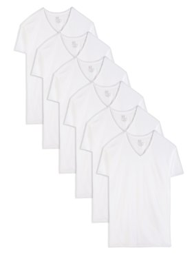 Fruit of the Loom Tall Men's Classic White V-Neck T-Shirts, 6 Pack