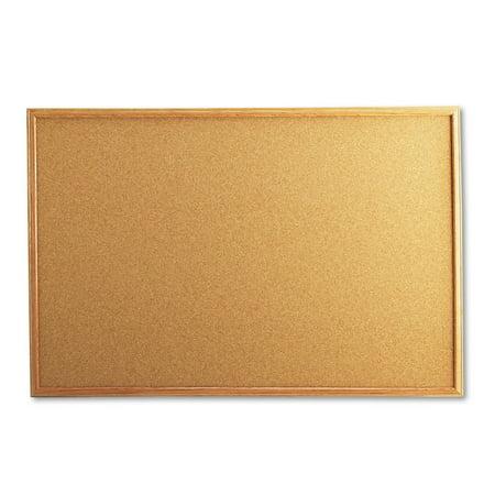 """Universal Natural Cork Board, 36"""" x 24"""", Oak-Finished Frame"""