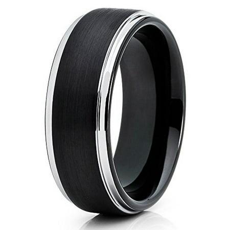 Tungsten Wedding Band Black Tungsten Ring 8mm Tungsten Men & Women Tungsten Carbide Ring Unique Silver Edges Comfort Fit ()