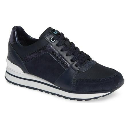 3e2861b70d3 Michael Kors MK Women's Billie Trainer Suede Sneakers Shoes Admiral (5)