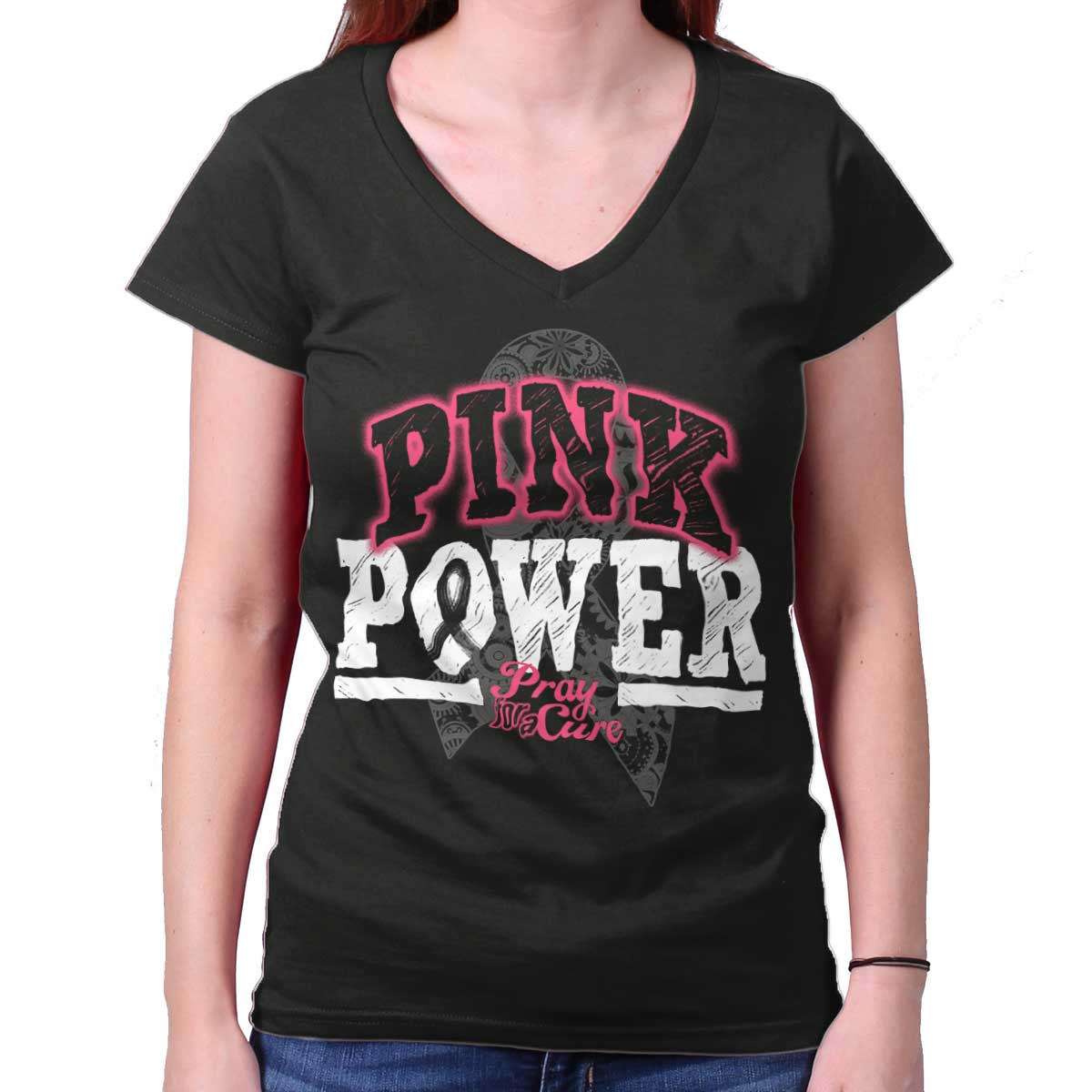Pray For The Cure Pink Power Shirt | Cancer Awareness Ribbon Junior V-Neck Tee