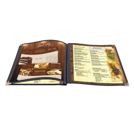 Yescom 30pcs Non-Toxic Menu Covers 8.5x11inches Black Triple Fold Book Style Cafe Bar 3 Pages 6 View A-glance Triple View Weekly
