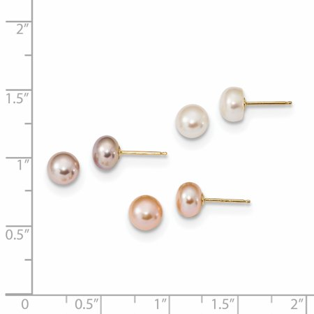 14K Yellow Gold 6-7mm Button Freshwater Cultured Pearl Boxed Set of 3 Post Earrings - image 1 of 2