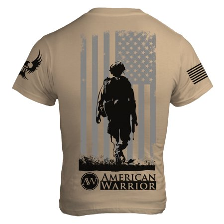 Down Range Patriotic T Shirt Supporting Veterans w Soldier and US Flag w Bald Eagle and Flag on Sleeves Made in the USA on Tan ()
